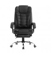 Kancelárske kreslo s výsuvnou podnožou, čierna, TICHON UT-C418A