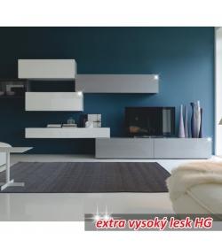 Obývacia stena, bielo / sivý extra vysoký lesk HG, VENECIA