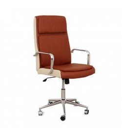 Kancelárske kreslo, tehlovo-béžová ekokoža + chróm, ERNY