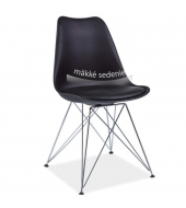 Stolička, čierna+chrómové nohy, METAL