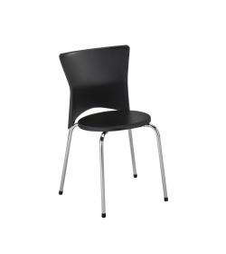 Stolička jedálenská, chróm+plast, čierna, BRISA