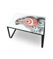 Konferenčný stolík, oceľ/sklo/motív, BALY