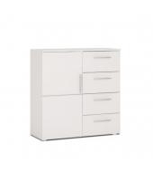 Komoda, 1 dverová so 4 zásuvkami, biela, PUNTO NEW 02