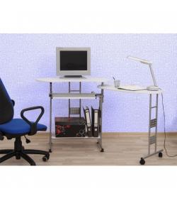 PC stôl, biela, strieborná, KAIL