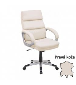 Kancelárske kreslo, koža/ekokoža béžová, VEJAN