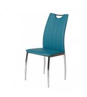 Jedálenská stolička, ekokoža modrá petrolejová/chróm, OLIVA