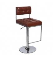 Barová stolička, ekokoža hnedá/chróm, GORDY