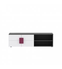 TV stolík/skrinka, sivá/biela/fialová, LOBETE 12