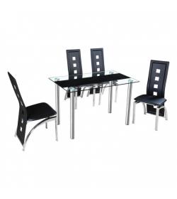 Jedálenský stôl, oceľ/sklo, ESTER
