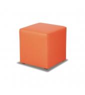 Taburet, ekokoža oranžová, KUBIK