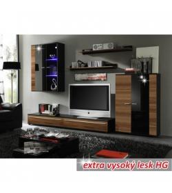 Obývacia stena, s osvetlením, slivka/čierna extra vysoký lesk HG, CANES
