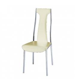 Stolička, ekokoža béžová/chróm, RIA - IRIS