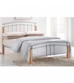 Manželská posteľ, drevo prírodné/strieborný kov, 160x200, MIRELA