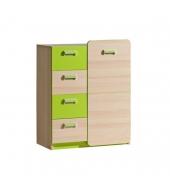 Komoda, 1 dverová so 4 zásuvkami, jaseň/zelená, EGO L6