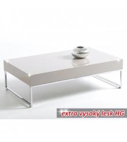 Konferenčný stolík, chróm/biela extra vysoký lesk HG, LOTTI
