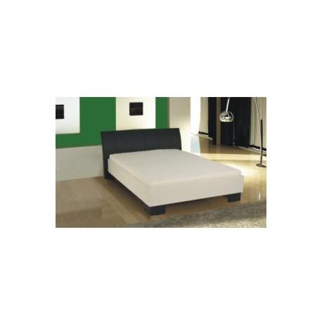 Manželská posteľ, ekokoža čierna/biele lamino, 180x200, TALIA