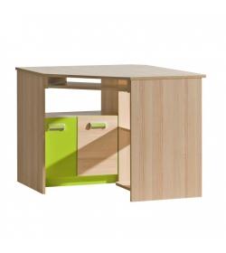 PC stôl rohový, jaseň/zelený, EGO L11