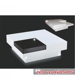Konferenčný stolík, biela extra vysoký lesk HG/čierna lesk, ELIOT