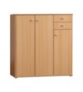 Komoda, 3 dverová s 2 zásuvkami, buk, TEMPRA 05