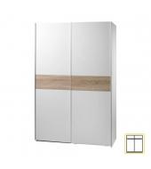 Dvojdverová skriňa, s posuvnými dvermi, biela/dub sonoma, VICTOR 1