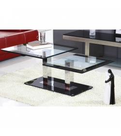Konferenčný stolík, ocel/sklo, GABRIEL