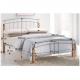 Manželská posteľ, drevo prírodné/strieborný kov, 140x200, MIRELA