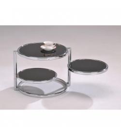 Konferenčný stolík, chróm/čierne sklo, MOIRA