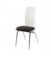 Jedálenská stolička, chróm/ekokoža tmavohnedá/béžová, DOUBLE