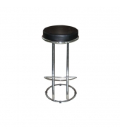 Barová stolička, ekokoža čierna/chróm, ZETA - VIRGINI