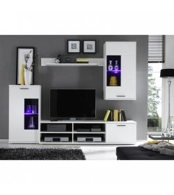 Obývacia stena, s osvetlením, biela/číre sklo, FRONTAL 1