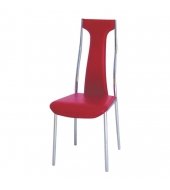 Stolička, ekokoža červená/chróm, RIA - IRIS