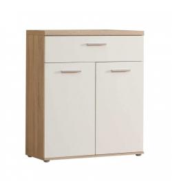 Komoda, 2 dverová so zásuvkou, dub/biela, WINIE WNK431