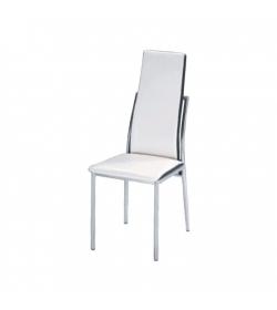 Jedálenská stolička, ekokoža biela, čierna/chróm, ZORA