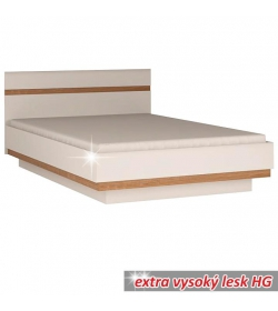 Posteľ, biela extra vysoký lesk HG/dub sonoma tmavý, 180x200 cm, LYNATET TYP 93