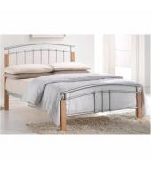 Manželská posteľ, drevo prírodné/strieborný kov, 180x200, MIRELA