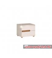 Nočný stolík, biela extra vysoký lesk HG/dub sonoma tmavý, LYNATET TYP 96