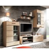 Obývacia stena s LED osvetlením, dub sonoma/sklo, PRESLI
