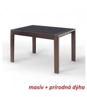 Jedálenský stôl, rozkladací, orech/čierne sklo, JANADAN