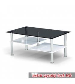 Konferenčný stolík, oceľ/dymové sklo/biela extra vysoký lesk HG, SVEN
