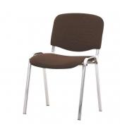 Stolička, chromová + hnedá, ISO