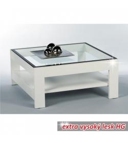 Konferenčný stolík, biela-extra vysoký lesk HG+číre sklo, ATTAC