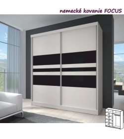 Dvojdverová skriňa, 203x218, s posuvnými dverami, biela/biela/čierne sklo, MULTI 11