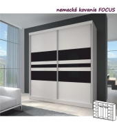 Dvojdverová skriňa, 233x218, s posuvnými dverami, biela/biela//čierne sklo, MULTI 11