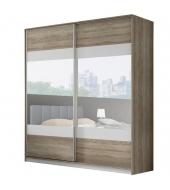 Skriňa so zrkadlom, 2,5m, dub sonoma trufel/sivá/zrkadlo, MADISON NEW