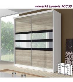 Dvojdverová skriňa, 233x218, s posuvnými dverami, biela/dub sonoma/čierne sklo/zrkadlo, MULTI 10