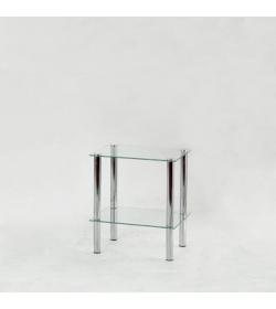 Regál, s dvoma poličkami, chróm + číre sklo, FREDDY