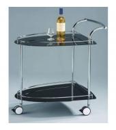 Servírovací vozík, sklo+chróm, FOSSA
