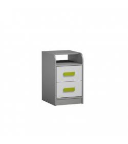 Kontajner k PC stolu, sivá/biela/zelená, PIERE P09