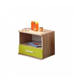 Nočný stolík, jednozásuvkový, dub sonoma/zelená, EMIO Typ 05