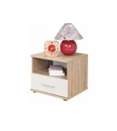 Nočný stolík, jednozásuvkový, dub sonoma/biela, EMIO Typ 05